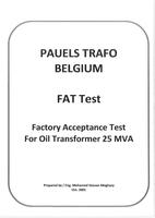 اختبار المصنع لأحد المحولات Transformer FAT Test صورة كتاب