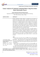 Linear Analysis of Composite Laminated Plates Using First Order Shear Deformable Theoryصورة كتاب