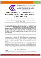PERFORMANCE TEST OF DIESEL ENGINES USING ETHANOL-DIESEL FUELS BLENDS صورة كتاب
